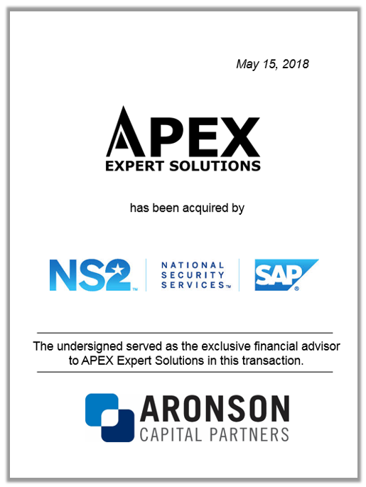 Aronson Capital Partners Advises APEX Expert Solutions on