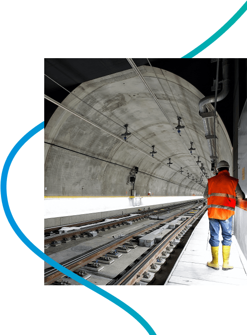 Construction with blue line illustration
