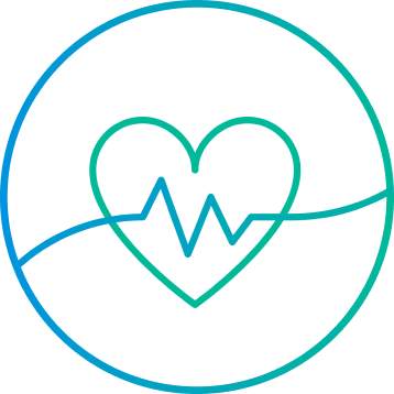 Heart with hearbeat gradient illustration